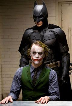 "Christian Bale and Heath Ledger in ""The Dark Knight"""