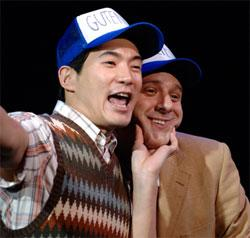 "Austin Ku as Doug and Brendan McNab as Bud in ""Gutenberg! The Musical!""."
