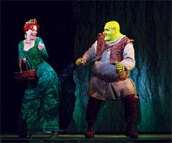 "Brian d'Arcy James and Sutton Foster in ""Shrek the Musical."""