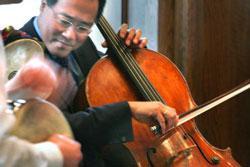 Yo-Yo Ma performs as a member of the Silk Road Ensemble.