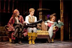 """Steve Kazee (Pirate King), Anderson Davis (Frederic), and Cady Huffman (Ruth) in """"Pirates! (or, Gilbert and Sullivan Plunder'd)"""" at the Huntington Theatre Company. Now through June 14 at the B.U. Theatre, the Huntington's main stage. Photo: T. Charles Erickson."""