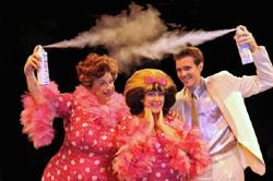 Ross Lehman (Edna), Marissa Perry (Tracy), and Billy Harrigan Tighe (Link) star in HAIRSPRAY at Marriott Theatre
