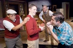 Kevin Hope, Jason Huysman, Chuck Spencer, Greg Caldwell in Raven Theatre's production of Death of a Salesman. Photo: Dean la Prairie