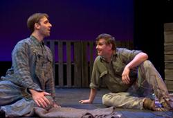 Danny Gavigan (Lennie) and Mark A. Rhea (George) star in Of Mice and Men, playing through Nov. 29 at the Church Street Theatre