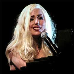 "Lady Gaga sings at her piano on ""The Moster Ball"" Tour"