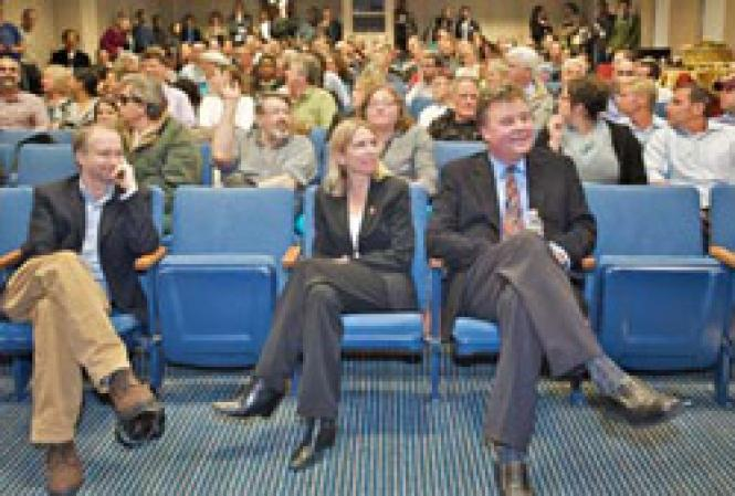 Drs. Steve Deeks, Diane Havlir, and Stephen Follansbee listen to questions after their remarks at a forum at San Francisco General Hospital Tuesday evening. Photo: Jane Philomen Cleland
