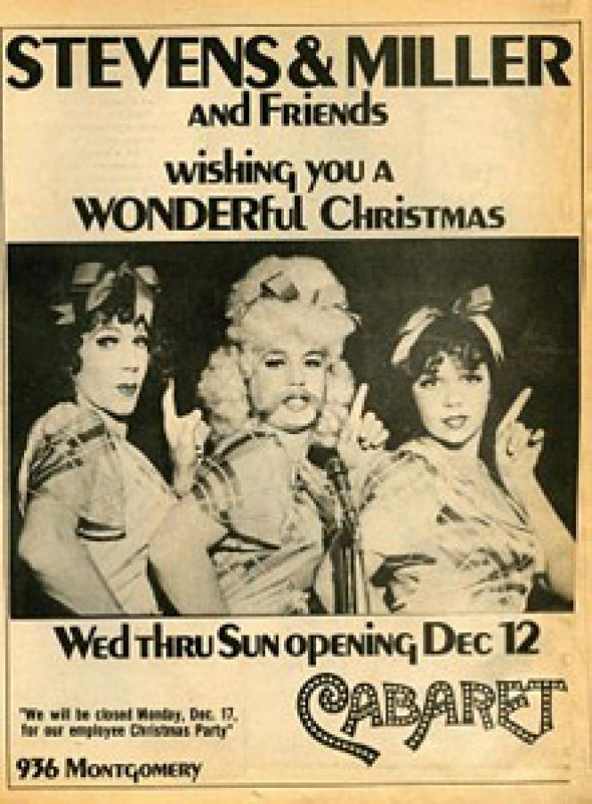 a 1973 BAR ad for Cabaret's holiday shows