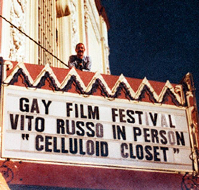 Queer media activist Vito Russo at the Castro Theatre, in Jeffrey Schwartz's documentary/biography Vito.  (Photo: From the Collection of Sean Strub / HBO)