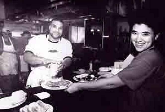 Kwan (left) and Rami at The Brick Hut in the late 1980s