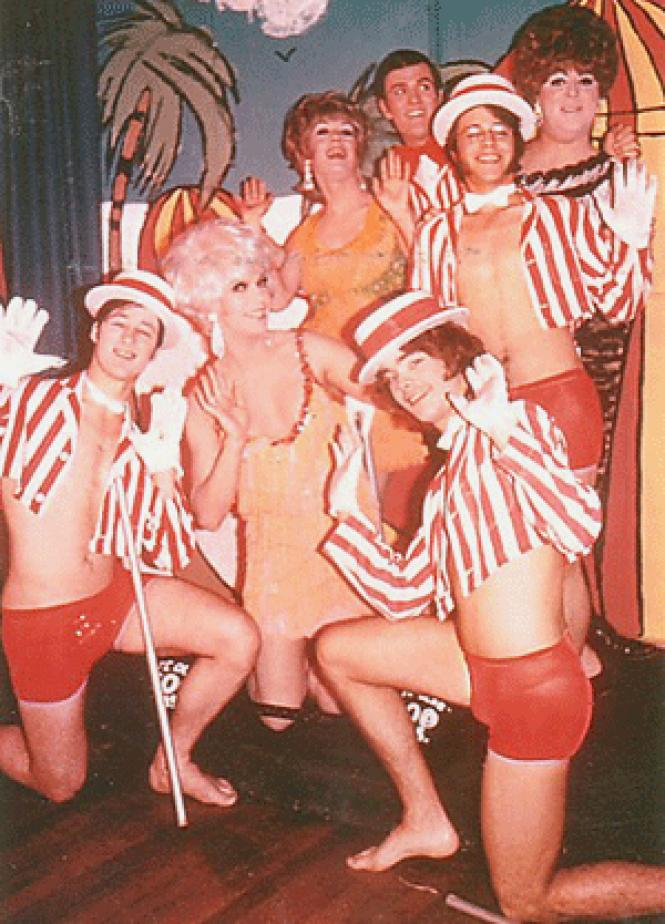 Vicki Marlane (white wig), Pat Montclaire and her showboys at Club 181