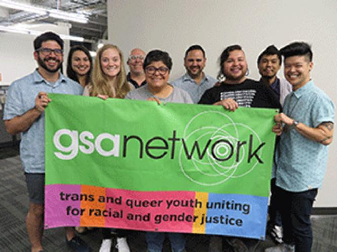 GSA Network staff are gearing up for Give OUT Day. In front, from left, are Tomas Rodriguez, Sarah Hyde, Rhina Ramos, Aldo Gallardo, and Eli Chi. In back, from left, are Neda Said, Chris White, David Bracamontez, and Geoffrey Winder.
