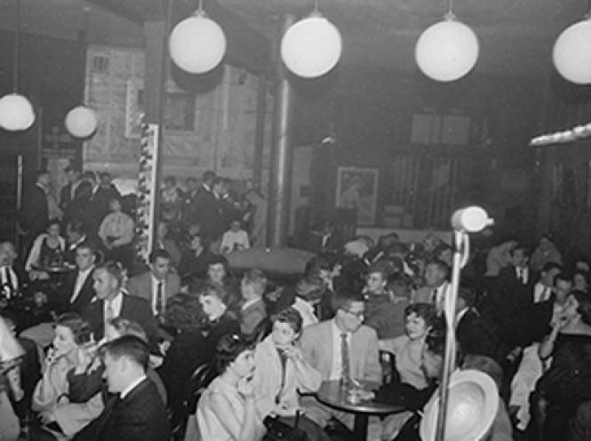 Inside the Tin Angel, a North Beach nightclub. photo: Found SF