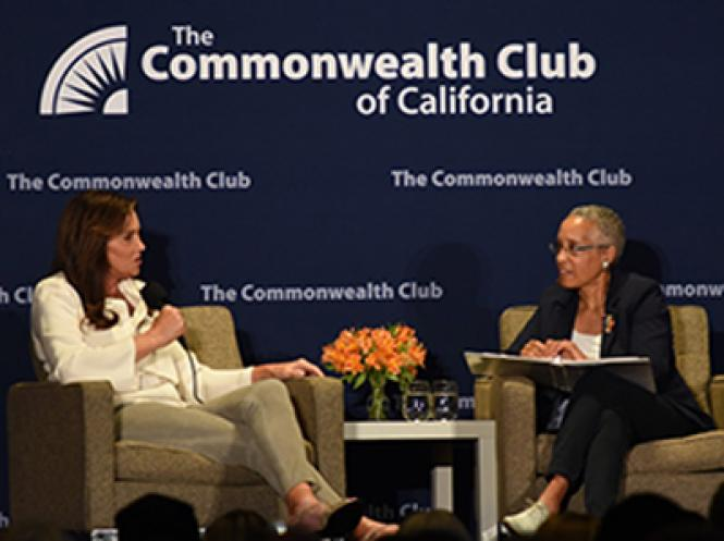 Caitlyn Jenner, left, answers a question posed by retired Judge LaDoris Cordell