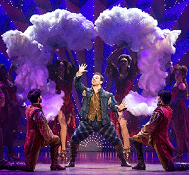 """Rob McClure stars as an ambitious 16th-century writer in """"Something Rotten,"""" now at the Orpheum Theatre, who learns that to compete with Shakespeare a show has to have razzmatazz"""