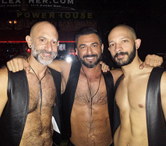 Mr. Powerhouse Leather 2015 contestants (L to R), PeteBerman, Juan Garcia and Daniel DeLage. photo: Race Bannon