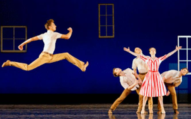 Smuin Ballet dancers Jonathan Dummar and Jane Rehm with<br>the men of the company (behind Rehm, l-r, John Speed Orr, Jared Hunt, and<br>Shannon Hurlburt) in <i>Dear Miss Cline</i>, a<br>world premiere by Amy Seiwert at the Palace of Fine Arts, part of Smuin Ballet's<br>fall program. (Photo: David DeSilva)