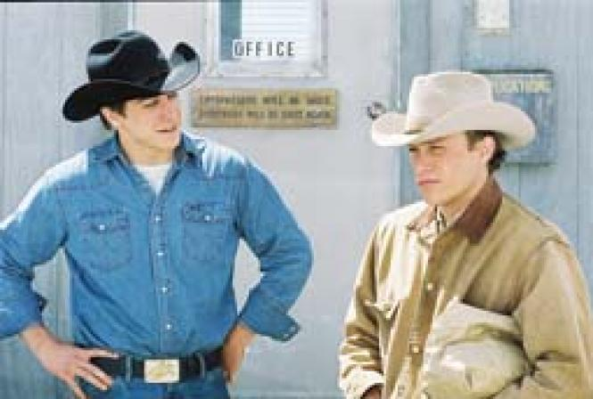 Jake Gyllenhaal (Jack) and Heath Ledger (Ennis) in <i>Brokeback Mountain.</i>