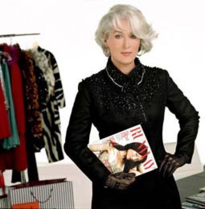 Meryl Streep as editor Miranda Priestly in <i>The Devil Wears Prada</i><br>Wears Prada</i>.