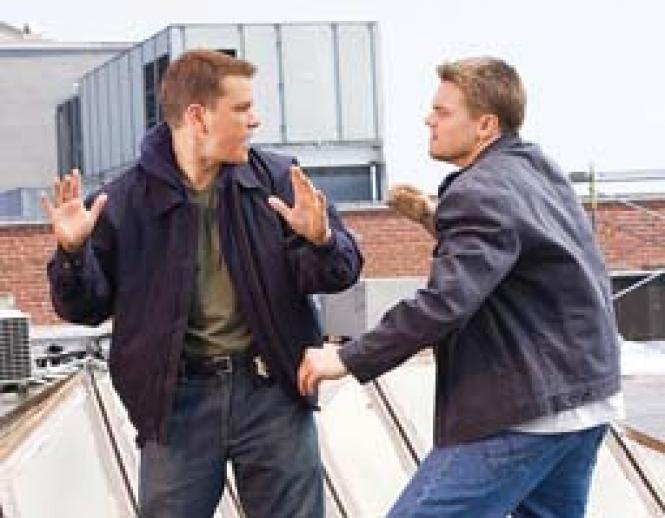 Look-alikes Leonardo DiCaprio and Matt Damon in <i>The<br>Departed.</i> Photo: Andrew Cooper