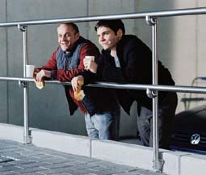 Jurgen Vogel and Daniel Bruhl in <i>A Friend of Mine</i>. Photo: Courtesy Berlin & Beyond