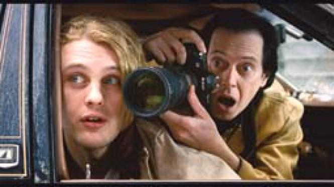 Michael Pitt and Steve Buscemi in <i>Delirious.</i><br>