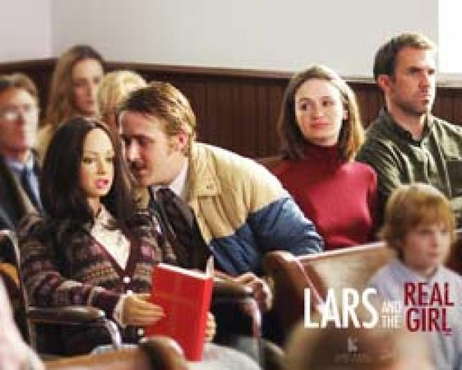 Ryan Gosling with Bianca in <i>Lars and the Real Girl</i><br>.