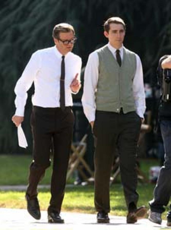 Colin Firth and Matthew Goode on the set of <i>A Single<br>Man.</i> Photo: Photo Agency