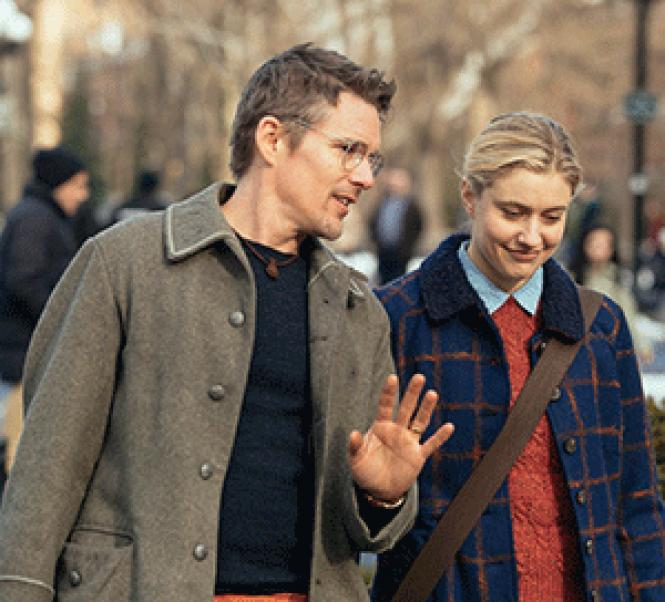 Left to right: Ethan Hawke as John, and Greta Gerwig as Maggie<br>in director Rebecca Miller's <i>Maggie's Plan.</i> Photo: John Pack, Hall Monitor, Inc., courtesy of Sony Pictures Classics