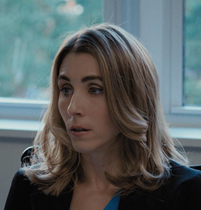 Sarah Megan Thomas as a subordinate investment banker in<br>director Meera Menon's <i>Equity.</i><br>Photo: Sony Pictures Classics