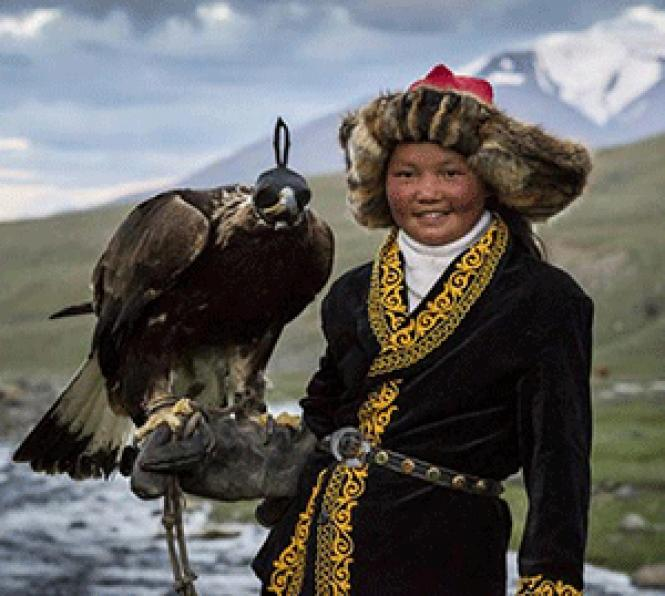 Aisholpan is the first girl in her Kazakh family to<br>become an eagle hunter, in Otto Bell's <i>The Eagle Huntress.</i><br> Photo: Sony Pictures Classics