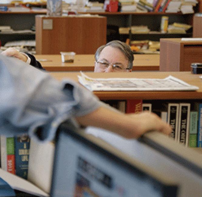 Scene in <i>The New York Times</i> newsroom, from director Vanessa Gould's <i>Obit. </i><br>Photo: Ben Wolf