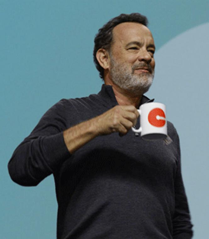 Tom Hanks as a dystopian cult's fearless leader<br>in The Circle. Photo: STX Entertainment