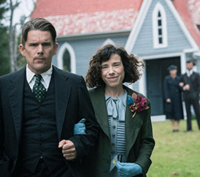 "Sally Hawkins as Maud Lewis, and Ethan Hawke as Everett<br>Lewis, in ""Maudie."" Photo: Duncan Deyoung, Courtesy of Sony<br>Pictures Classics"