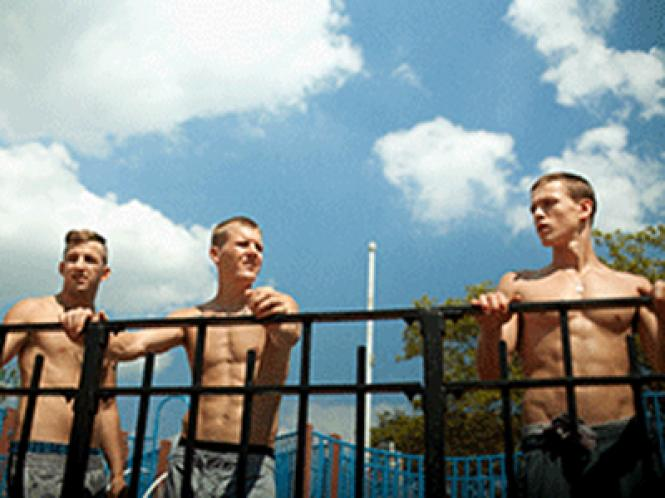 "Frankie (Harris Dickinson) and his crew in director Eliza Hittman's ""Beach Rats."""