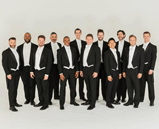The male vocal ensemble Chanticleer performed at First<br>Presbyterian Church, Berkeley. Photo: Lisa Kohler