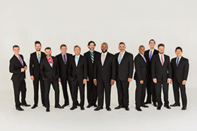 The men of Chanticleer male ensemble chorus. Photo: Lisa<br>Kohler