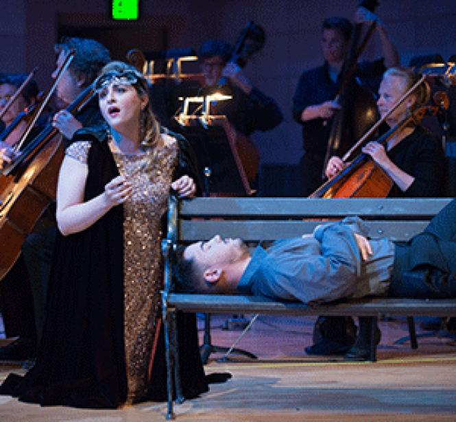 Alexandra Razskazoff (soprano) and Andres Acosta (tenor) in a scene from the Schwabacher Summer Concert. Photo: Kristen Loken