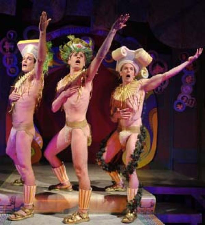 T.J. Buswell, Michael Phillis, and Bobby Singer comprise<br>a column of chorus boys in <i>Hot Greeks.</i><br>Photo: davidallenstudio.com