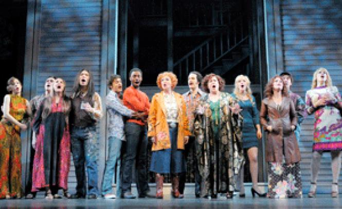 The cast of <i>Tales of the City</i><br> sings a group number in the new musical about San<br>Francisco in the 1970s in the ACT world premiere. (Photo: Kevin Berne)