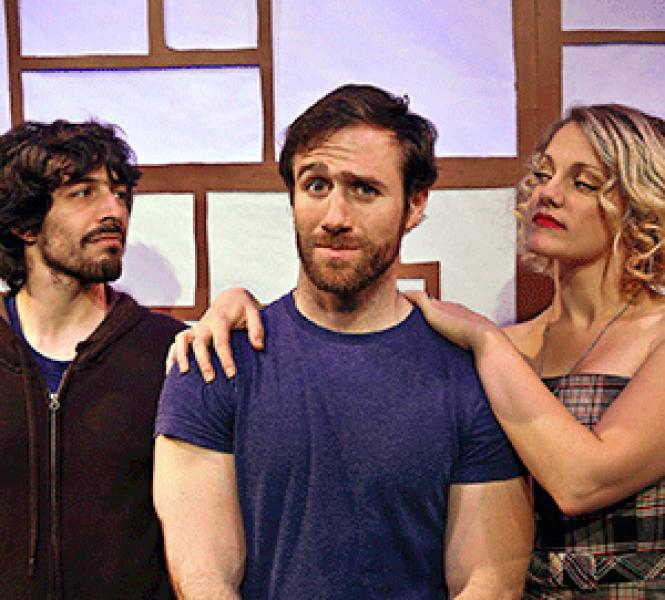Nick Trengove (center) plays an aspiring actor who finds<br>his affections torn between Dan Kuntz and Mikka Bonel in <i>Everybody Here Says<br>Hello!</i> Photo: Jim Norrena