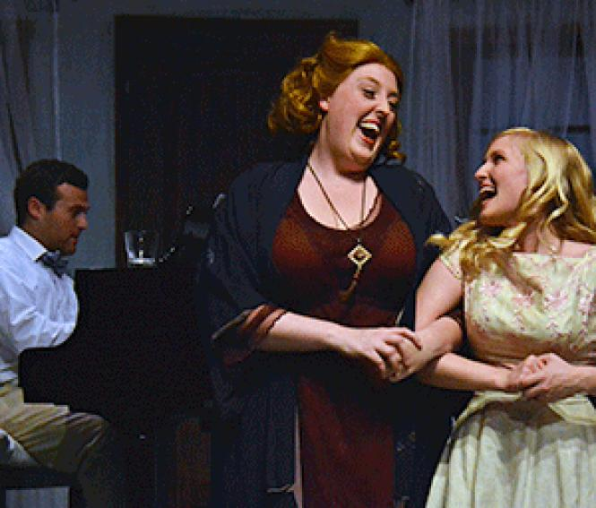 Heather Orth and Julianna Lustenader as Big Edie and<br>Little Edie Beale share a brief moment of happy togetherness in the musical <i>Grey<br>Gardens</i> at the Gough Street Playhouse.<br>Photo: Jay Yamada