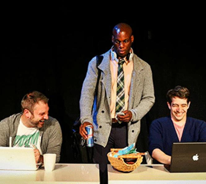 A coworker played by Derek Jones (center) is slow to<br>latch onto office humor shared by colleagues (Cooper Carlson and Dan Kurtz) in<br>Stuart Bousel&#039;s new play <i>Adventures in Tech.</i><br> Photo: Andy Strong