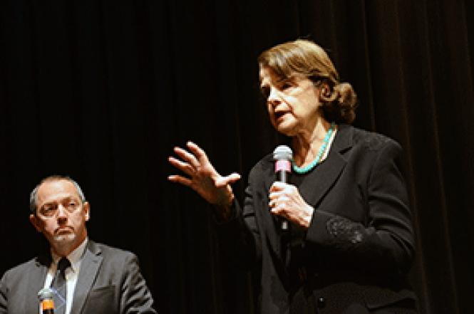 Senator Dianne Feinstein, right, spoke at her first town<br>hall Monday, joined by moderator Bevan Dufty. Photo: Rick Gerharter