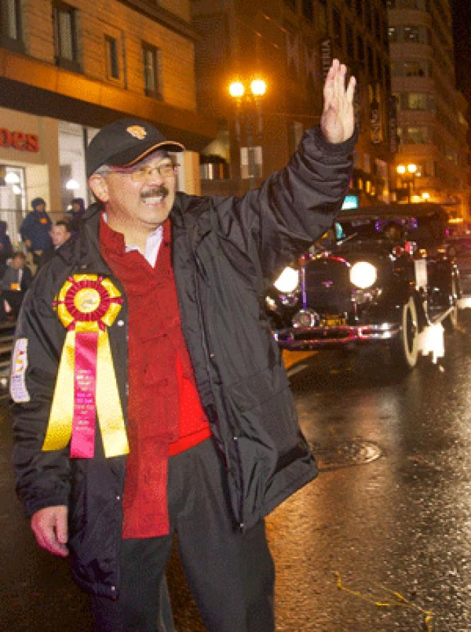 Mayor Ed Lee waves to onlookers during Saturday's ChineseNew Year Parade. Photo: Jane Philomen Cleland