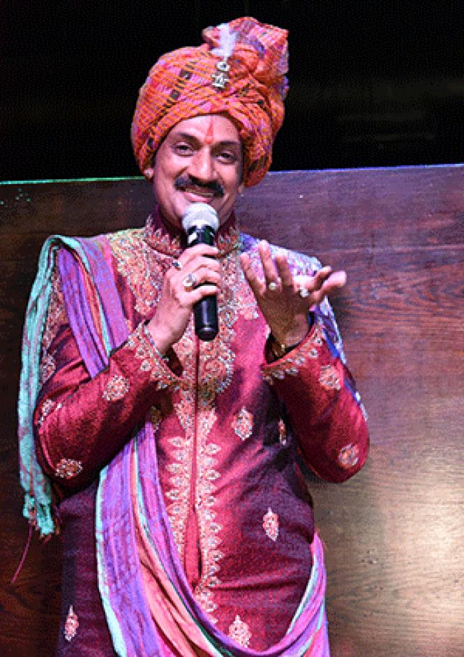 Prince Manvendra Singh Gohil of India speaks to<br>supporters during his San Francisco visit. Photo: Gooch