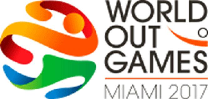 The concept of World Outgames as major sports events is<br>as antiquated as the 45-rpm phonograph record adapters the 2017 logo resembles.