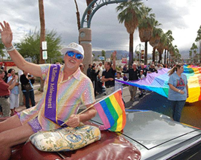 Gilbert Baker rode in the Palm Springs Pride Parade in<br>2011. Photo: Darlene/PhotoGraphics<br><br>