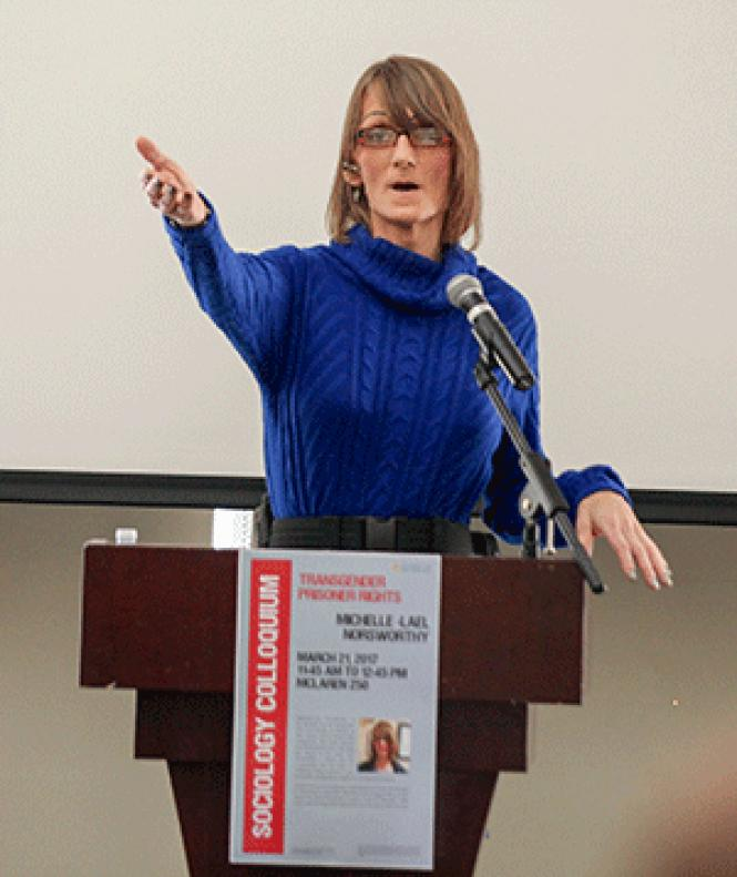 Michelle-Lael Norsworthy spoke to students at the<br>University of San Francisco March 21. Photo: Kelly Sullivan