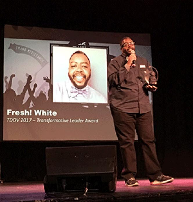Fresh White received the Transformative Leader Award at<br>San Francisco&#039;s Transgender Day of Visibility event. Photo: Sari Staver