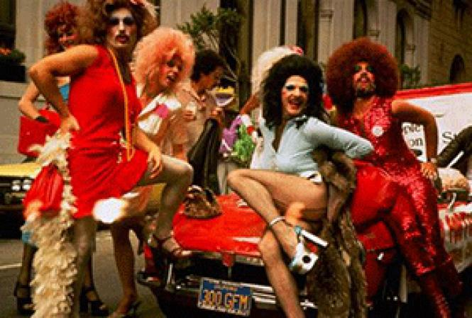 Drag queens posed at the 1976 Gay Pride Parade. Photo: Harvey<br>Milk via SF History Center via Curbed SF